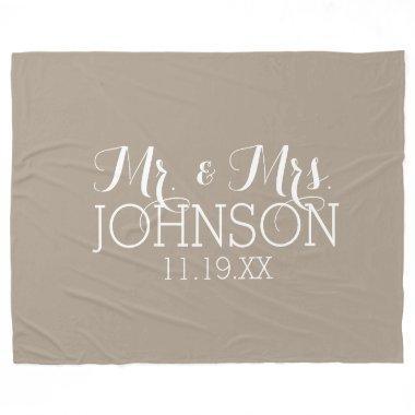 Solid Color Linen Beige - Mr & Mrs Wedding Favors Fleece Blanket