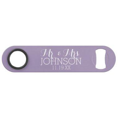 Solid Color Orchid Lavender Mr & Mrs Wedding Favor Bar Key