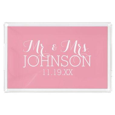 Solid Color Pastel Pink - Mr & Mrs Wedding Favors Serving Tray
