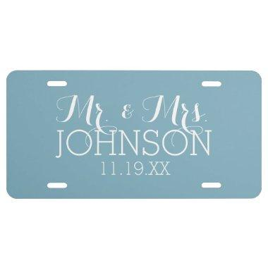 Solid Color Robin Egg Blue Mr & Mrs Wedding Favors License Plate