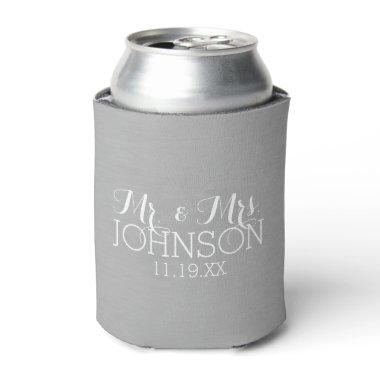 Solid Color Silver - Mr & Mrs Wedding Favors Can Cooler