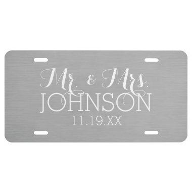 Solid Color Silver - Mr & Mrs Wedding Favors License Plate