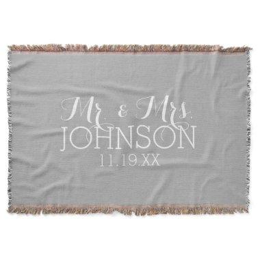 Solid Color Silver - Mr & Mrs Wedding Favors Throw