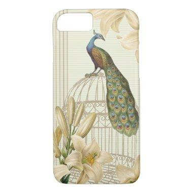 Sophisticated vintage Peacock birdCage Lily iPhone 7 Case