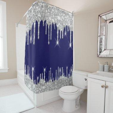 Spark Drips Glitter Effect Blue Navy Silver Gray Shower Curtain