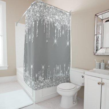 Spark Drips Glitter Effect Smoky Grey Silver Gray Shower Curtain