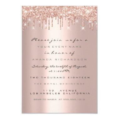 Spark Glitter Drips Rose Bridal Shower Sweet 16th Invitations