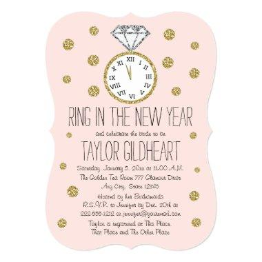 Sparkle Diamond Ring New Year's Eve Bridal Shower Invitations