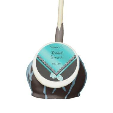 Sparkly Diamonds & Teal Bow Bridal Shower Cake Pops
