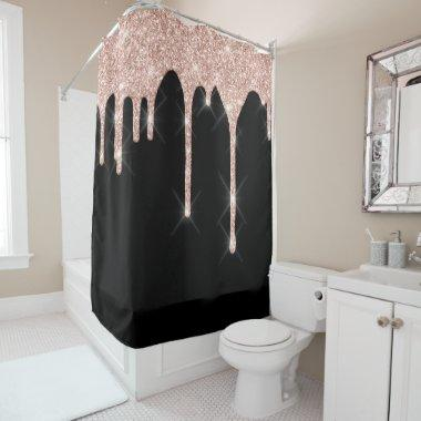 Sparkly Glitter Drips Pink Rose Gold Blush Black Shower Curtain