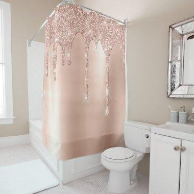 Sparkly Glitter Drips Pink Rose Gold Blush Lux Shower Curtain