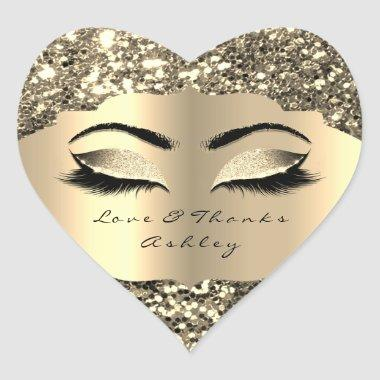 Sparkly Glitter Gold Lash Eyes Love &Thanks Girly Heart Sticker