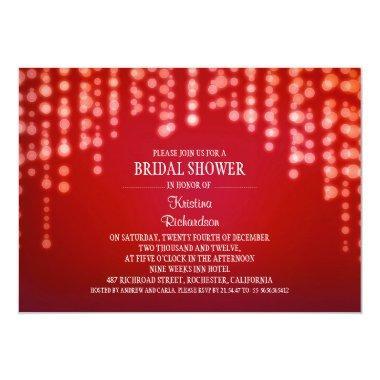sparkly glitter string lights red bridal shower Invitations
