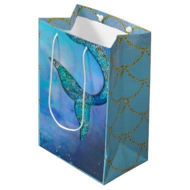 Sparkly Ocean Mermaid Fin Tail Birthday Party Medium Gift Bag