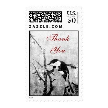 SPRING BIRD AND FLOWER TREE Black White Thank you Postage