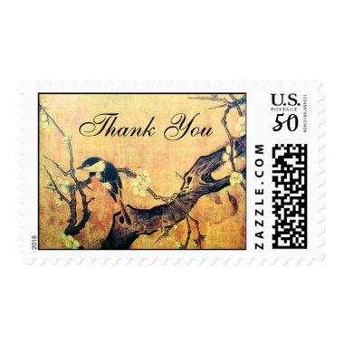 SPRING BIRD AND FLOWER TREE Brown Sepia Thank You Postage