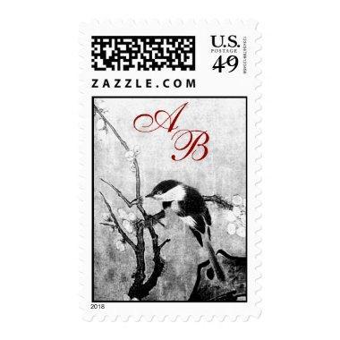 SPRING BIRD AND FLOWER TREE MONOGRAM Black White Postage