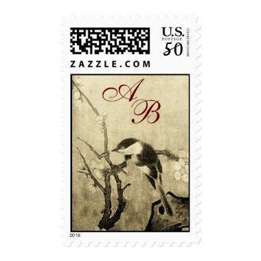 SPRING BIRD AND FLOWER TREE MONOGRAM brown Sepia Postage