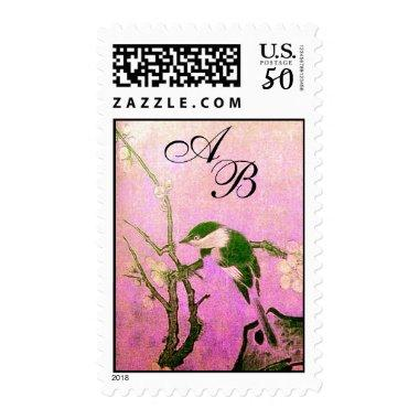 SPRING BIRD AND FLOWER TREE MONOGRAM Pink Fuchsia Postage