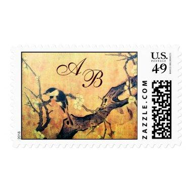 SPRING BIRD AND FLOWER TREE MONOGRAM Yellow Brown Postage