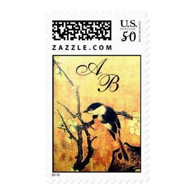 SPRING BIRD AND FLOWER TREE MONOGRAM Yellow Brown Postage