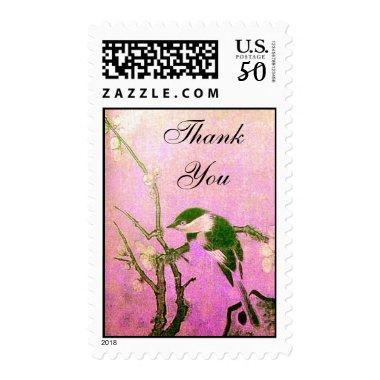 SPRING BIRD AND FLOWER TREE Pink Fuchsia Thank You Postage