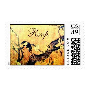 SPRING BIRD AND FLOWER TREE RSVP Yellow Brown Postage