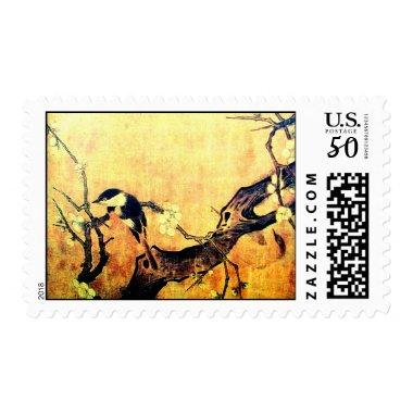 SPRING BIRD AND FLOWER TREE Yellow Brown Sepia Postage