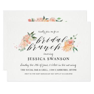 Spring Blush Peach Watercolor Floral Bridal Brunch