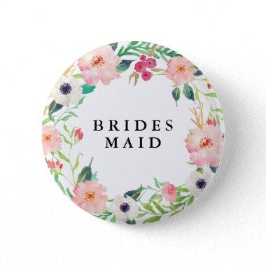Spring Florals Bridesmaid Wedding Pinback Button