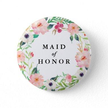 Spring Florals Maid of Honor Wedding Pinback Button
