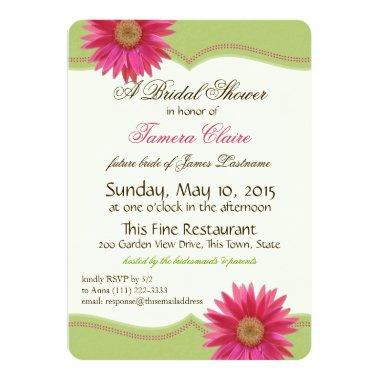 Spring Green and Fuschia Pink Daisy Bridal Shower Invitations