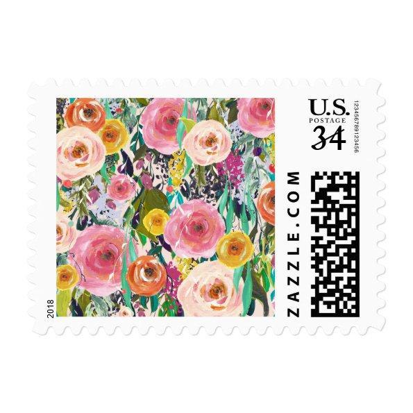 Spring Rose Garden Painted Floral Postage Stamps