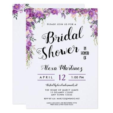 Spring Summer Floral Top Bridal Shower Invitations