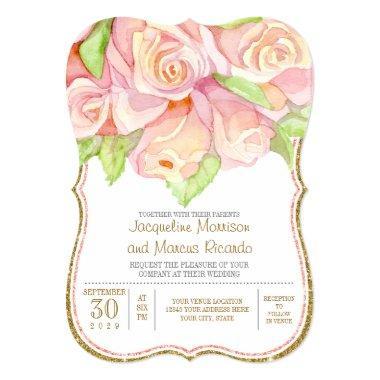 Spring Summer Wedding Watercolor Rose Bouquet