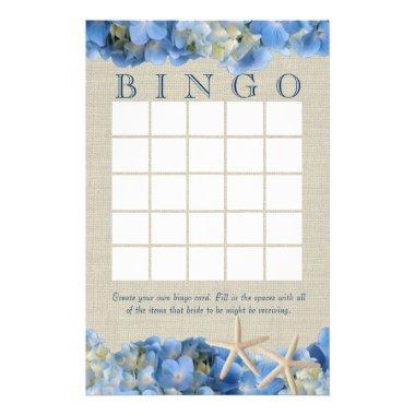 Starfish and Hydrangeas  Bingo Stationery