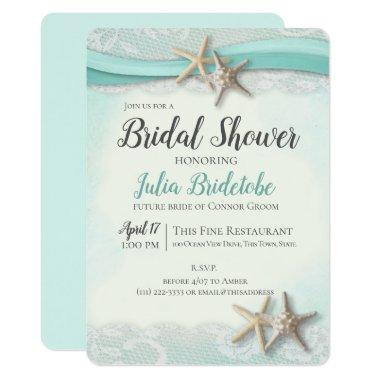 Starfish and Lace Bridal Shower Invitations