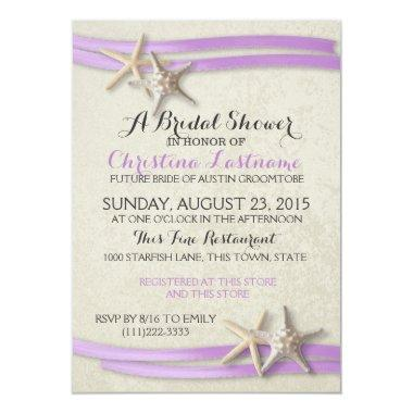 Starfish and Purple Ribbon Bridal Shower Invitations