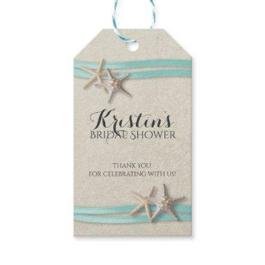 Starfish and Ribbon Beach Bridal Shower Gift Tags