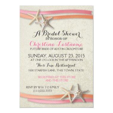 Starfish and Ribbon Bridal Shower Invitations