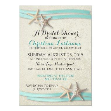 Starfish and Ribbon Bridal Shower Invitations