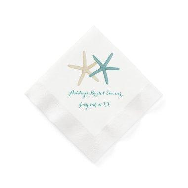Starfish Couple Teal and White Cocktail Napkins