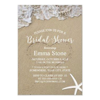 Starfish Summer Beach Wedding Bridal Shower Invitations