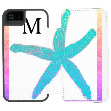 Starfish Teal Blue Pink Monogrammed Initials Cool iPhone SE/5/5s Wallet Case