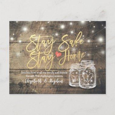 STAY HOME STAY SAFE WEDDING POSTPONEMENT MASON JAR ANNOUNCEMENT POSTInvitations
