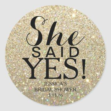 Sticker | Glitter Bridal Shower - She Said Yes!