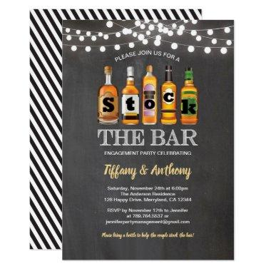Stock the bar chalkboard engagement party Invitations