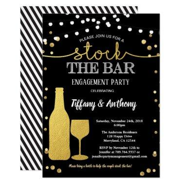 Stock the bar engagement party black and gold Invitations