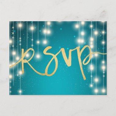 String Lights Blue Gold Script Wedding RSVP Reply Invitation Post