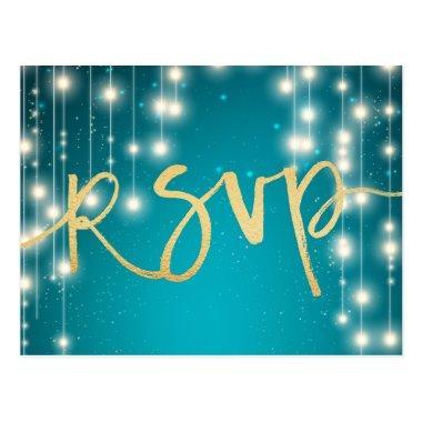String Lights Blue Gold Script Wedding RSVP Reply Post